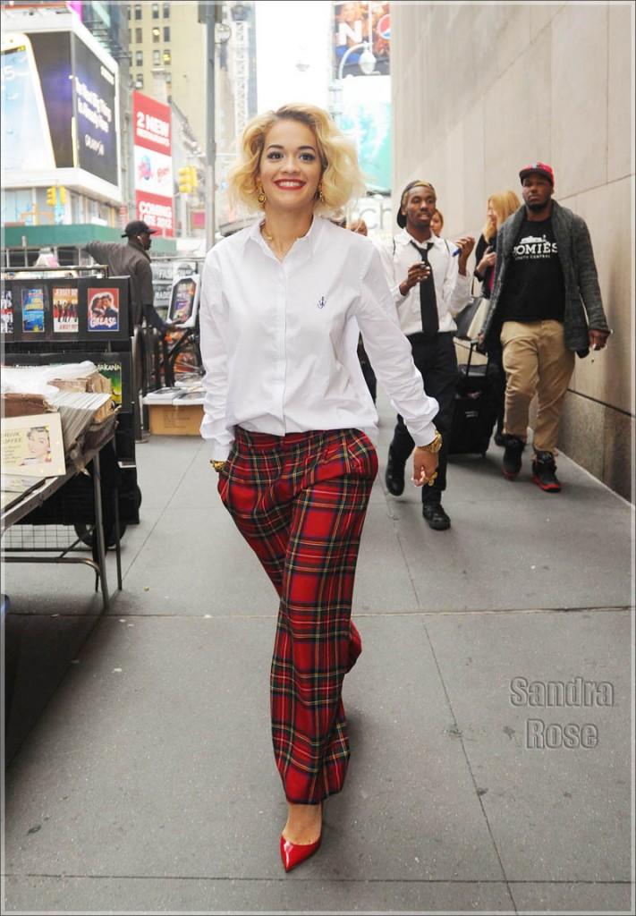 Rita Ora wearing plaid red pants leaves MTV Studios in New York City